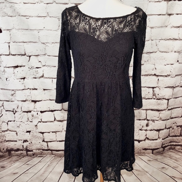 Free People Dresses & Skirts - Free People Black Lace Crochet 3/4 Sleeve Dress